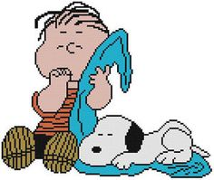 Cross Stitch Knit Crochet Plastic Canvas Waste Canvas Rug Hooking and Bead Work Pattern Peanuts Linus and Snoopy.  https://www.pinterest.com/resparkled/