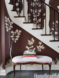 On the Lake Forest, Illinois, entry's chocolate-brown walls — Benjamin Moore Aura in Mink — designer Ruthie Sommers had Patrick Roullier paint a mural of ivory trees and squirrels based on the flora and fauna of the Illinois countryside. Foyer Design, Design Entrée, Entry Way Design, House Design, Interior Design, Entrance Design, Blog Design, Design Ideas, South Shore Decorating