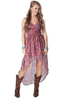 Ocean Drive® Womens Pink Paisley Print Chiffon High-Low Cami Dress | Cavenders Boot City