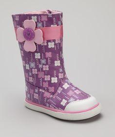 Pink & Purple Orchid Rain Boot