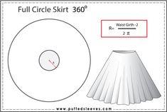 Full circle skirt construction formula