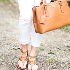 GlamGrace - By Tabby White denim and Tory Burch Sandals.