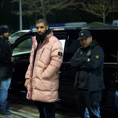 Drake Steps Out In Stone Island Pink Coat