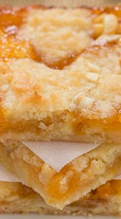 Apricot Bars ~ Scrumptious and unforgettable! Wonder if I can use real cooked apricots and plant an flour for aip. Then no one else would eat them :) 13 Desserts, Cookie Desserts, Cookie Recipes, Delicious Desserts, Yummy Food, Apricot Recipes, Sweet Recipes, Oreo Dessert, Dessert Bars