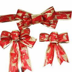 Red Christmas Ribbon Bow Christmas Tree Decoration Handmade Arvores De Natal Grandes Christmas Ornament