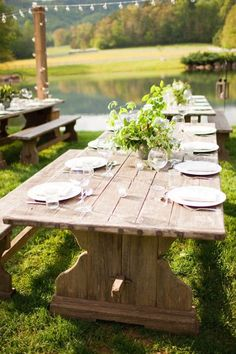 rustic picnic table rehearsal dinner ideas (photo by Watson-Studios)