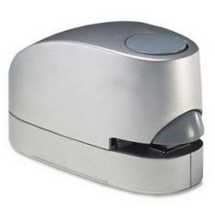 Ease the burden of paperwork with this simple to use electric stapler. The silver stapler is designed to staple up to 15 sheets of paper a the touch of a button.