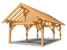 "16x24 Timber Frame Plans - http://timberframehq.com/16x24-timber-frame-plan/ - This versatile plan could be finished out as a storage shed, a picnic pavilion or even a glamping cabin.  It measures 16' wide by 24' deep, with two generous bays. Enclose the entire structure, or enjoy part of it as a delightful porch. The plate height of 9'10"" creates a roomy interior. http://timberframehq.com/16x24-timber-frame-plan/"