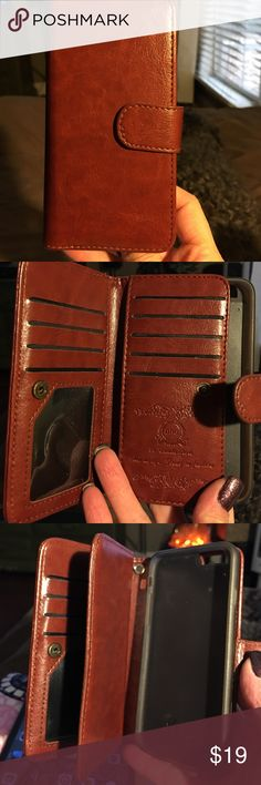 Leather iPhone 6/6s wallet case This is a  gently used iPhone 6/6s wallet case in brown leather. Magnetic phone case does remove and the case has a magnetic close.  Room for credit cards (9 slots), as well as place for cash. BRG Accessories Phone Cases