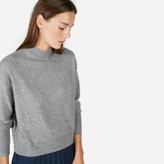 This Grade-A cashmere mockneck is slightly oversized, with a relaxed but playful cropped cut that we love. It looks especially great with high-waisted pants.