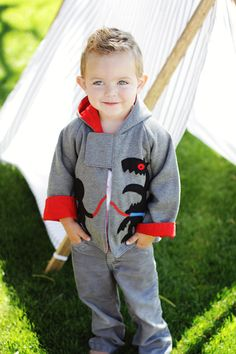 Boys sewing pattern pdf, children sewing pattern PDF, boy clothing pattern, boys jacket pattern, easy sewing pattern,  MONSTER HOODIE