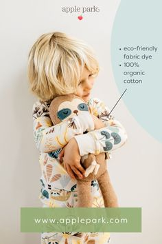 """Slow down and enjoy the moment, just like the sleepy sloth in our organic cotton """"Jungle Collection"""" of toys, blankets and clothing. Organic Baby Toys, How To Dye Fabric, Sloth, Playground, Blankets, Organic Cotton, Teddy Bear, Clothing, Animals"""