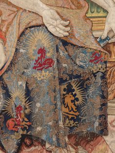 "Designed by Pieter Coecke van Aelst (Netherlandish, 1502–1550). The Story of Vertumnus and Pomona: Vertumnus Reveals His True Identity to Pomona (detail Pomona's garment), design date ca. 1544, woven ca. 1548–1575. Patrimonio Nacional | This work will be featured in ""Grand Design: Pieter Coecke van Aelst and Renaissance Tapestry,"" on view October 8, 2014–January 11, 2015. #tapestrytuesday #granddesign"