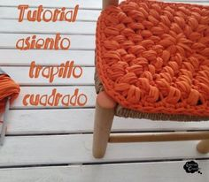 Funda asiento trapillo cuadrado Love Crochet, Learn To Crochet, Crochet Hooks, Knit Crochet, Knitting Videos, Loom Knitting, Knitting Projects, Cotton Cord, Crochet Decoration