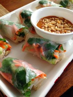 taylor made: peanut sauce two ways: chicken pad thai spring rolls & thai chicken satay