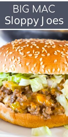 Big Mac Sloppy Joes are an easy ground beef dinner recipe perfect for weeknights. These sloppy joes are loaded with onions, pickles and cheddar cheese all tossed in a copycat Big Mac Sauce. Big Mac, Beef Recipes For Dinner, Cooking Recipes, Healthy Recipes, Dinner Ideas With Beef, Unique Dinner Ideas, Supper Ideas With Hamburger, Easy Supper Ideas, Yummy Recipes