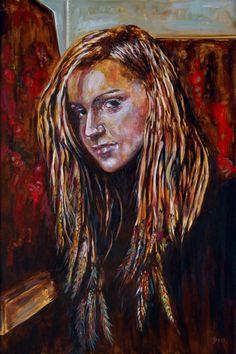 Model and paintings - olio su tela 80x120