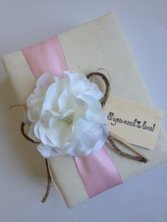 "Rustic Wedding Album, White Hydrangeas, Blush Pink Ribbon, White Ribbon and Rope Bow, Hand-stamped ""All You Need is Love"" - by CoutureLife"