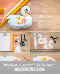 How to Make a Felt Swan Stuffie with Crown - Lia Griffith Felt Crafts Patterns, Felt Crafts Diy, Felt Doll Patterns, Felt Owls, Felt Animals, Sleeping Fox, Felt Crown, Diy Bebe, Baby Mobile