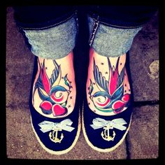 Stylish swallow tattoos with cherries, Does anyone know who makes these shoes?