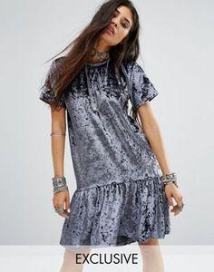 Milk It Vintage Oversized T-Shirt Dress With Peplum Frill Hem In Velvet