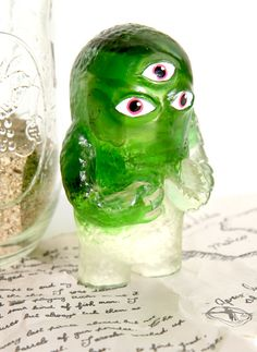 Young Grobold | We Kill You!    Hand made resin toy filled with sea glass  http://www.wekillyou.net