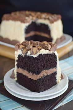 This rich, luscious dessert is probably our favorite chocolate cake recipe. Chocolate and peanut butter combine for a layered cake that is out of this world. Make a moist homemade chocolate cake with a homemade creamy peanut butter frosting and top with Reeses!