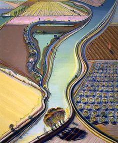 Notice how he exaggerates the saturation and contrast/ variety of the colors, yet not so far that the piece looses it's illusionistic effect.  Walks the line between convincingly real and unreal, creating a surreal tension between waking consciousness and dream state; the psychedelic.  wayne thiebaud. winding river.