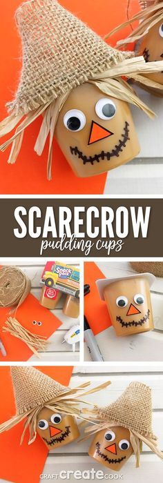 These Scarecrow Pudding Cups are the perfect crafty snack for a sweet Fall treat and your kids will love them. via (Fall Treats)