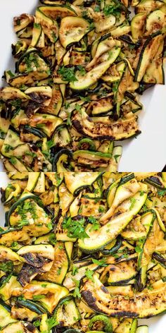 Roasted Zucchini Salad This Roasted Zucchini Salad is so flavorful and healthy, you'll want to make it over and over again! Seasoned with lemon-parsley dressing, it requires only 5 ingredients! Antipasti Zucchini, Roasted Zucchini Salad, Roast Zucchini, Zuchinni Salad, Grilled Zucchini, Roasted Garlic, Vegetarian Recipes, Cooking Recipes, Healthy Recipes