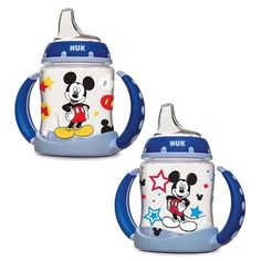Encourage your child to transition from a bottle to a cup with the decorative Mickey Mouse design on this blue Disney learner cup from NUK. With its robust plastic material, this cup provides durabili