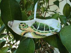 Sea Turtle Oyster Shell Ornament by ArtbyOseeKoger on Etsy