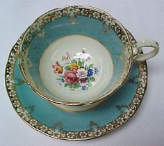 Gorgeous Aynsley Aqua Blue Interior Pattern Cup and Saucer