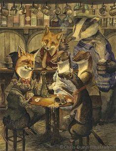 The card game by chris dunn fox art, badger, chris dunn, niedliche illustration Art And Illustration, Fantasy Kunst, Fantasy Art, Chris Dunn, Fox Art, Woodland Creatures, Whimsical Art, Illustrators, Fairy Tales