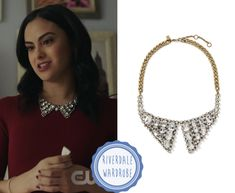 """""""Riverdale: Season 2 Episode 20 Veronica's Gem Collar Necklace """" Who: Veronica Lodge (Camila Mendes) What: Banana Republic Classic Rebel Mid-Size Collar NecklaceSold Out. Where: Riverdale Season 2 Episode 20 """"Chapter Thirty-Three: Shadow of a Doubt"""" Riverdale Season 2, Riverdale Veronica, Riverdale Cast, Veronica Lodge Fashion, Veronica Lodge Outfits, Veronica Lodge Style, Indie Outfits, Cute Outfits, Verona"""