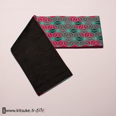 Hanhaba Obi Rose fuchsia motif géométrique - kitsuke.fr