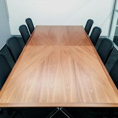 Bespoke Meeting Room Table - stunning bookmatched veneer joinery with gloss finish - complimented by the Orangebox Do Chair Joinery, Bespoke, Compliments, Commercial, Dining Table, It Is Finished, Chair, Kitchen, Projects