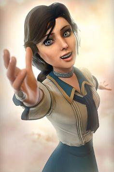 Dance with me, Booker! Bioshock Artwork, Bioshock Game, Video Game Art, Video Games, Bioshock Infinite Elizabeth, Elizabeth Cosplay, Elizabeth Comstock, Beautiful Girl Video, Bioshock Cosplay