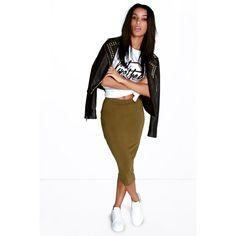 Boohoo Basics Brea Basic Jersey Midi Skirt (125 ZAR) ❤ liked on Polyvore featuring skirts, olive, bodycon midi skirt, high waisted knee length skirt, white knee length skirt, white jersey skirt and tube skirt