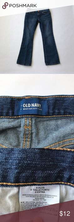 Girls Old Navy Bootcut Jeans Size 8 Plus Girls size 8 Plus. Adjustable waist. I do t think she even wore them, the plastic tag for the price tag is still attached. Have been washed. Waist is 13.75 in across laying flat at loosest setting. Inseam is 25 inches. Excellent condition- no signs of wear.  Comes from a smoke and pet free home 🏡.  Check out my other great kids clothes. You can bundle this with other items in my closet and only pay one shipping!!! Save$$$$ Old Navy Bottoms Jeans