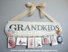 Another grandparent gift idea but use a plank painted with chalkboard paint