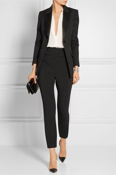 Alexander McQueen - Stretch Wool And Cotton-blend Leggings - Black - IT46