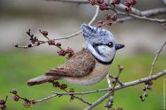 """Купить Брошь войлочная """"Гренадёрка"""" - серый, брошь, птица, брошь-птица, Брошь в виде птицы"""
