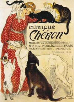 Steinlen - Clinique Cheron dogs vets vintage poster art print in choice of sizes Vintage French Posters, Art Vintage, Vintage Ads, French Vintage, Vintage Style, Vintage Prints, Vintage Italian, Retro Art, Vintage Travel