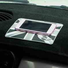 Union Jack Uk Flag Racing Check Anti Non Slip Mat For Mobile Phone Holder For Mini Cooper
