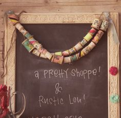 spool_garland_chalkboard spool ideas from the handmade home