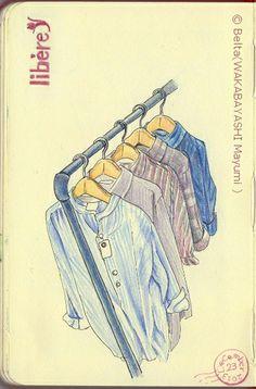 "2013_12_26_libere_01_s 松江の古着屋さんリベレの棚  A vintage clothing shop ""libere""  for this drawing I used: Pigma Faber-Castell polychromos   Moleskine sketchbook  © Belta(WAKABAYASHI Mayumi )"