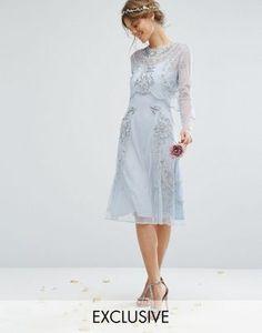 Платье миди с отделкой и съемным кроп-топом Amelia Rose