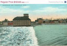 River Postcard Muskingum Dam Zanesville Ohio by FamilyTreeAntiques, $8.40