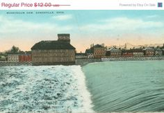 River Postcard Muskingum Dam Zanesville Ohio by FamilyTreeAntiques, $8.40